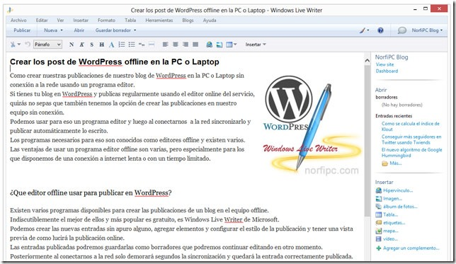 Crear una entrada para un blog de WordPress offline en la PC usando Windows Live Writer