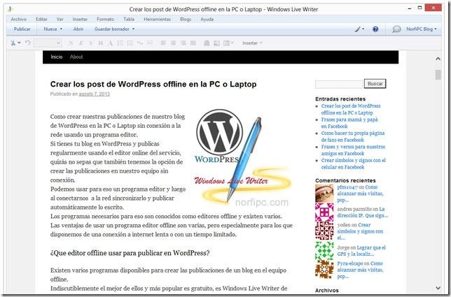 Vista previa de como quedara la entrada en WordPress